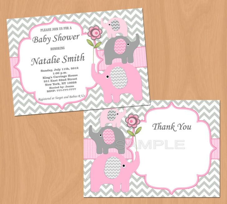 Girl Baby Shower Invitation Elephant Baby Shower Invitation Baby Girl  Shower Invitation Baby Shower Invite Pink   Free Thank You Card By  Diymyparty On Etsy