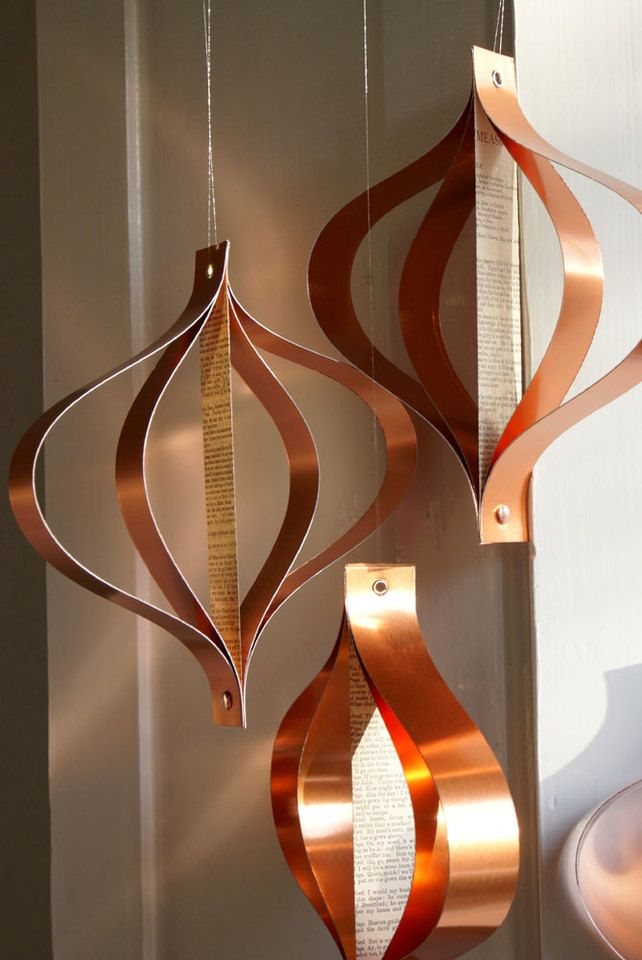 Large Christmas decoration, upcycled book paper, copper, geometric retro