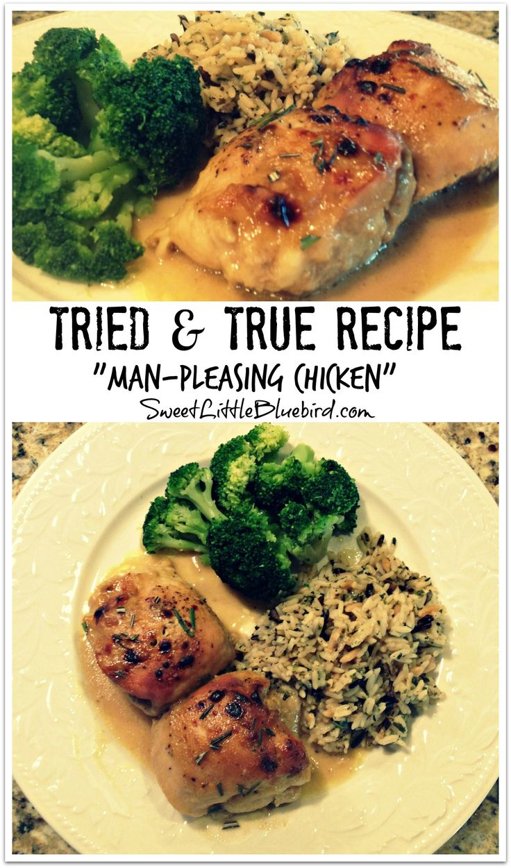 """""""Man-Pleasing Chicken""""  (Also known as Holy Yum Chicken,  Maple-Dijon Chicken, Maple-Mustard Chicken), Tried & True recipe from Witty in the City!  New Family Favorite Chicken Dish! Just 4 ingredients for the sauce - mix, pour over the chicken and bake! In under an hour you have a fabulous meal! AWESOME!!    SweetLittleBluebird.com"""