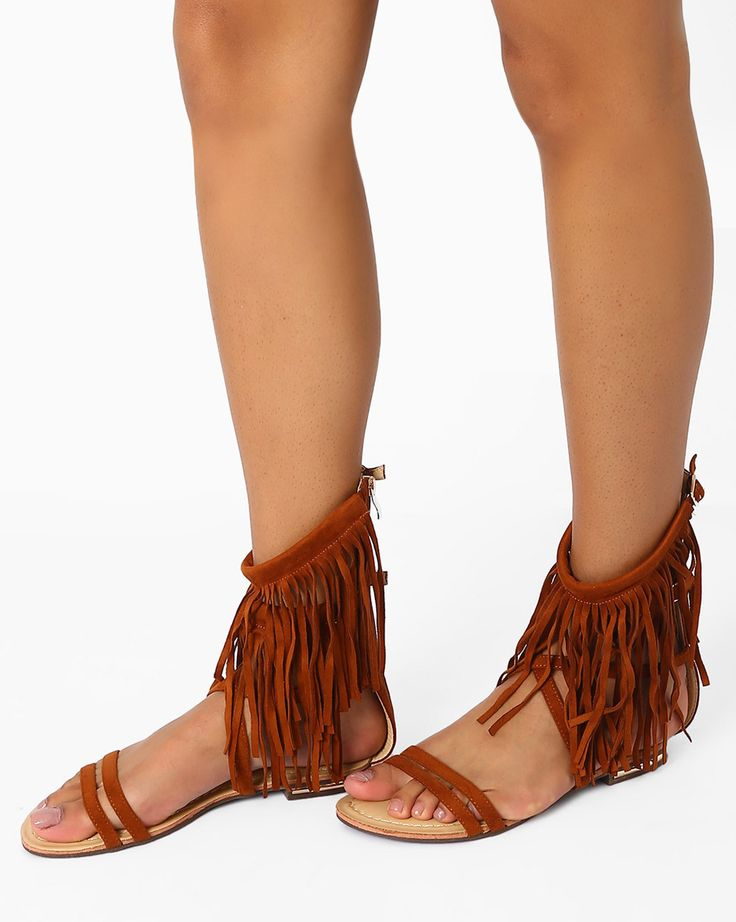 AJIO Tan Brown Suede Flats with Fringes Sandals #Tan  #Suede Leather  #Flats  #Fringe