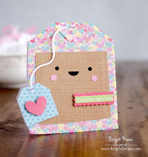 "Brigit's Scraps ""Where Scraps Become Treasures"": Doodlebug Tea bag Shaped Card"