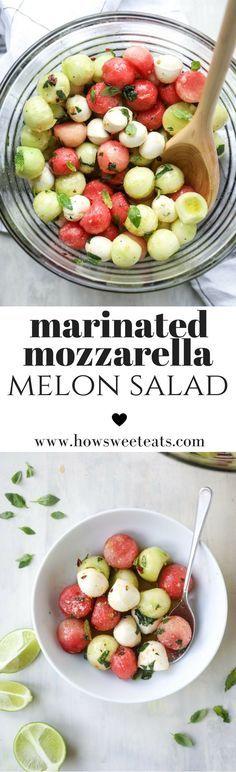 Marinated Mozzarella Melon Salad - Watermelon, Cucumber and Fresh Mozz! I howsweeteats.com