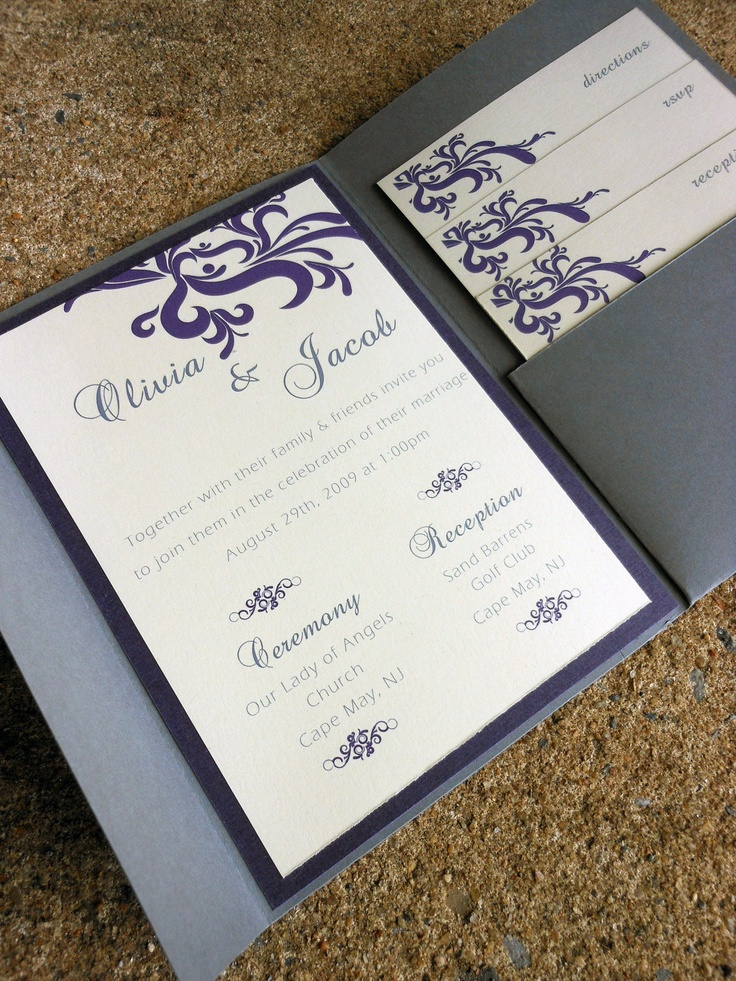 Pocketfold Wedding Invitation Gray u0026 Purple