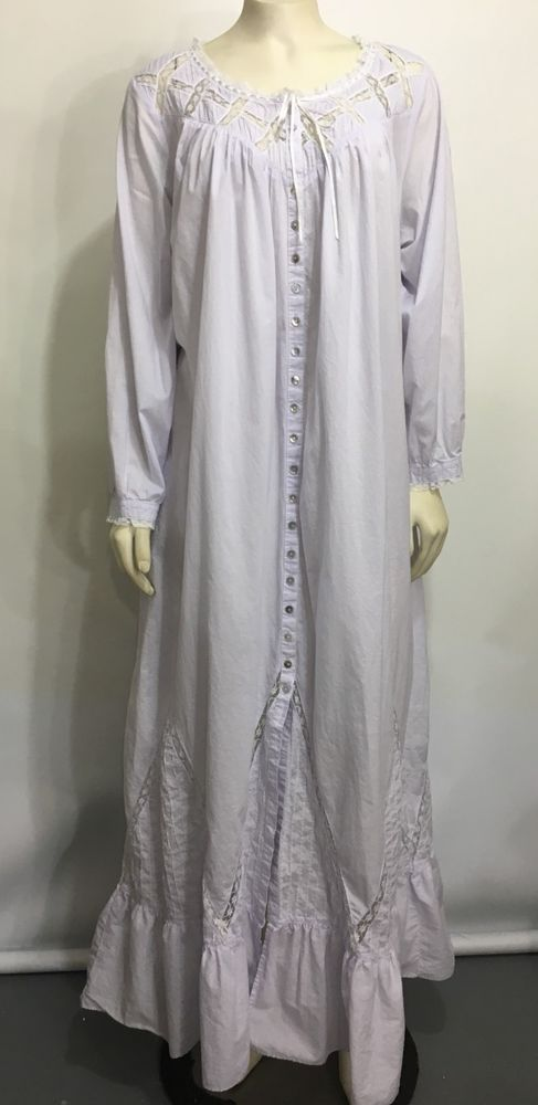 596bffc5cd Eileen West Womens M Lavender Cotton Nightgown Long-Sleeve Full-Length  Roomy  EileenWest  Gowns  Everyday
