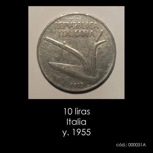 10 liras Italia y. 1955