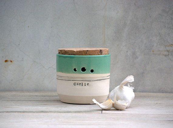 handmade ceramic garlic jar kitchen garlic canister by claylicious