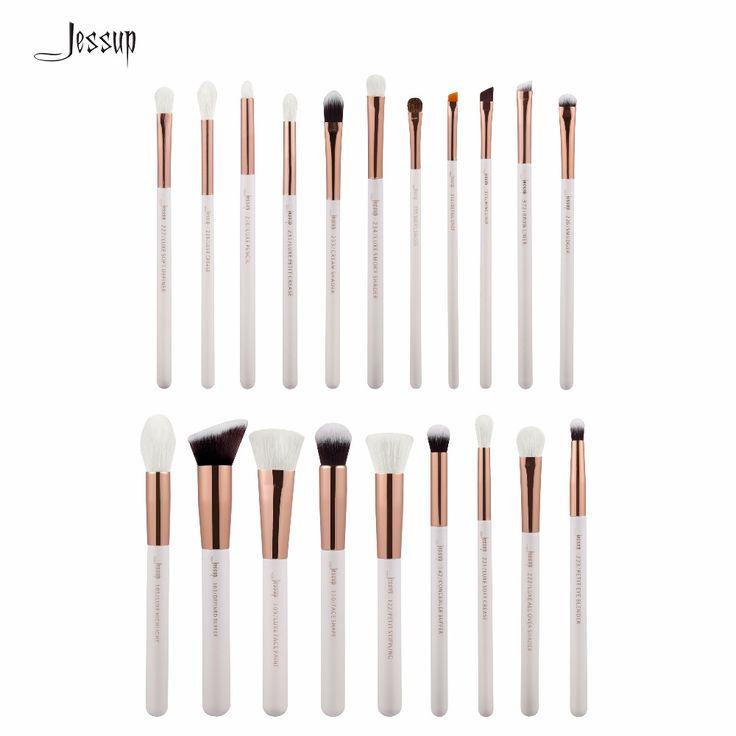 Jessup Pearl White/Rose Gold Professional Makeup Brushes Set Make up Brush Tools kit Foundation Powder Brushes T225