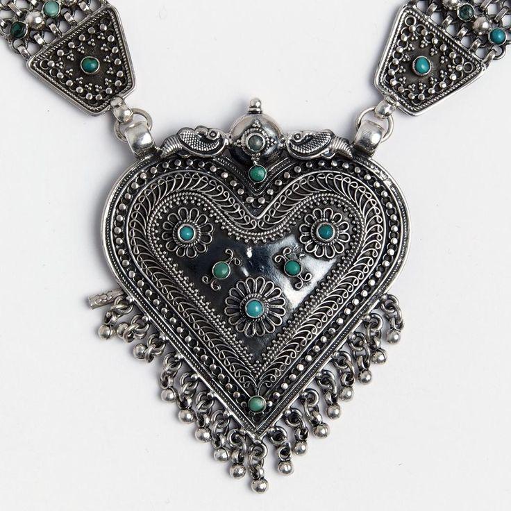 Colier statement Yoni, argint oxidat și turcoaz, India