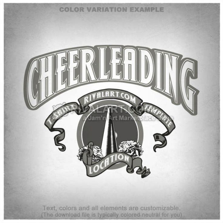 Cheerleading T-shirt Design Template CHEER-19-RQ
