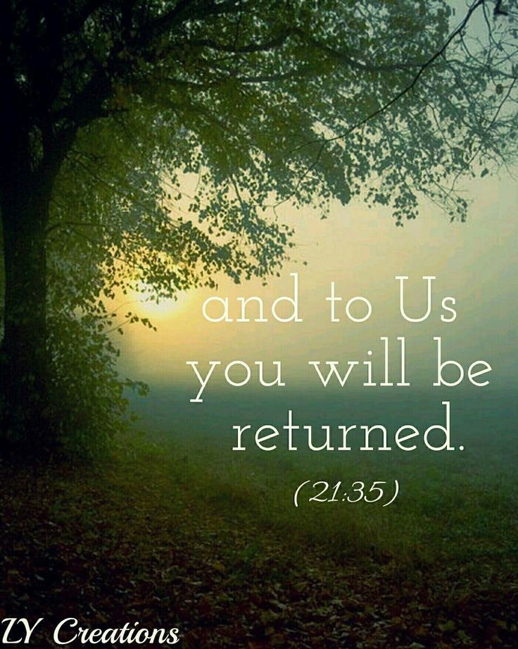 And to Us you will be returned.
