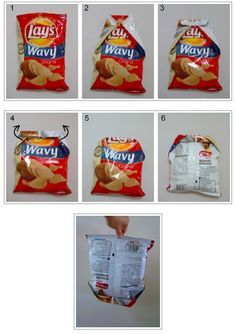 How to fold a chip bag so it stays closed. It took me a couple of tries to get it, but it really works.