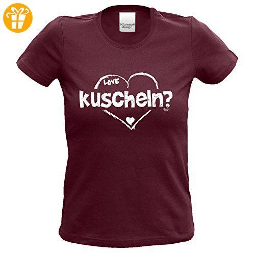 Geburtstagsgeschenk für Frauen Girlie T-Shirt mit Aufdruck:kuscheln Farbe: burgund Gr: M (*Partner-Link)