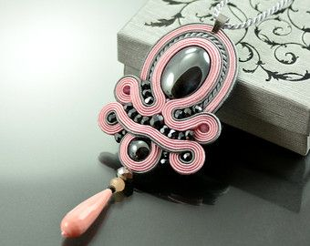 Soutache Pendant Violet Pendant Violet and Graphite by OzdobyZiemi