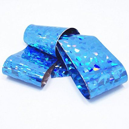 Goldenssy 1 Rollo 120 cm Transferencia Reflexivo Lámina Pegatina para Arte de Uña Multi Colores Gel UV Nail Tips Nail Art Foil Stickers Papel de Aluminio Fragmento Azul Claro