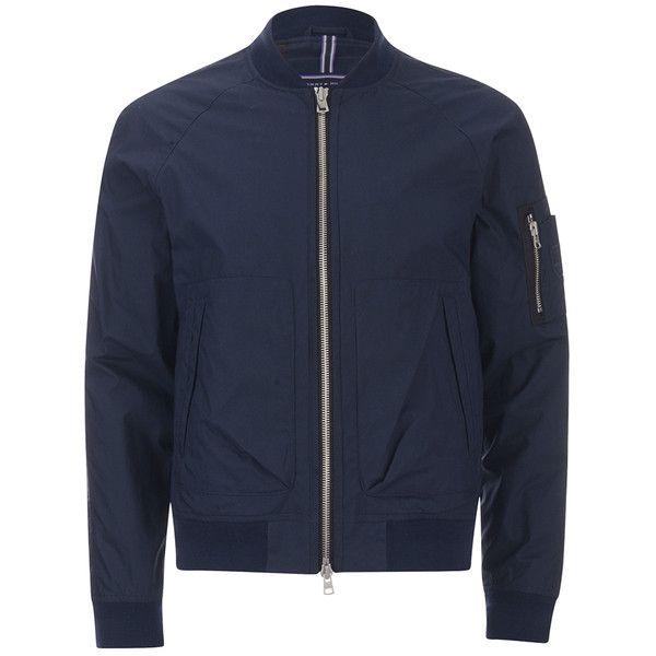 Tommy Hilfiger Men's Colton Bomber Jacket (3,390 MXN) ❤ liked on Polyvore featuring men's fashion, men's clothing, men's outerwear, men's jackets, blue, mens flight jacket, mens blue jacket, mens light weight jackets and mens bomber jacket