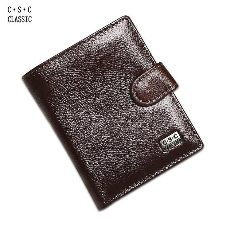 Soft Coffee Brown Real Genuine Leather Wallet Mens ID Credit Card Slot Zipper Pocket Coin Pouch Clutch Checkbook Standard Purse