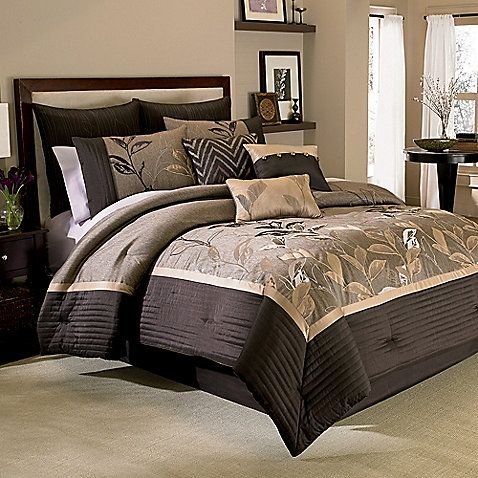 Quiet shades of neutral brown, mocha and bronze bled with a touch of soft lavender in this beautiful nature-inspired comforter set. The centerpiece of this bedding is an abundance of appliqued and embroidered leaves on a richly textured ground.