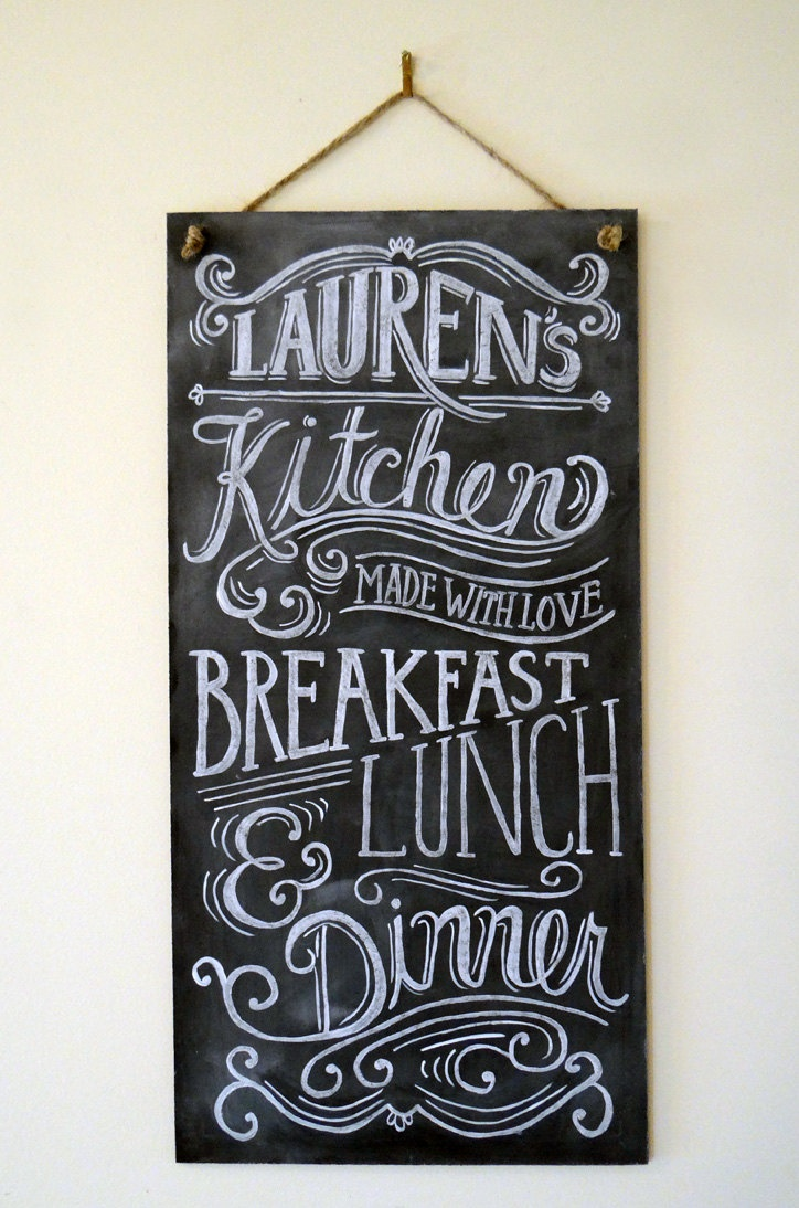 Custom Chalkboard - Kitchen Chalkboard Sign - Typography Art - Custom Kitchen Sign - Personalized Gift - Vintage Sign. $135.00, via Etsy.