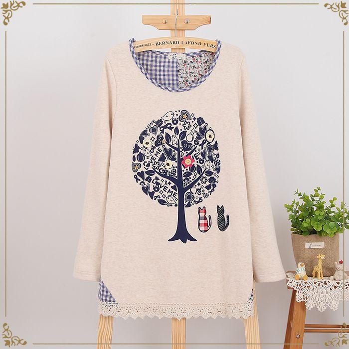Etnik Ağaç Desen Pamuklu Bluz
