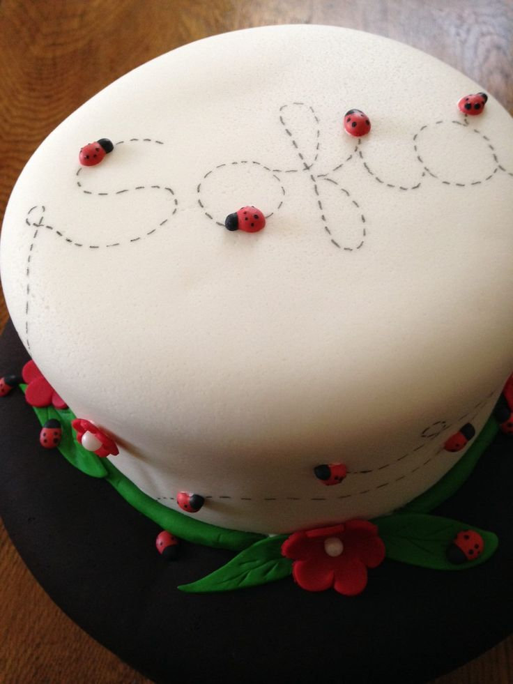 Ladybug Cake - Purchase pre-made ladybugs for your cake making contact info@culinaryarcheology.com - tutorial coming soon!