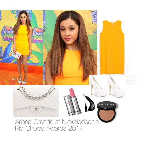 This is a replica of Ariana Grande's outfit to the kids choice awards 2014. The yellow dress is almost exact and it has the same shape and almost the same color. Similar heels are seen in the picture. I re created her makeup look with a bronzer and a liquid liner. I chose a light pink lip color which sort of matches hers in the picture. I love this outfit and I love that Ari is finally getting confident to let her hair down. We love you Ari. Be confident with who you are!! ❤️❤️❤️