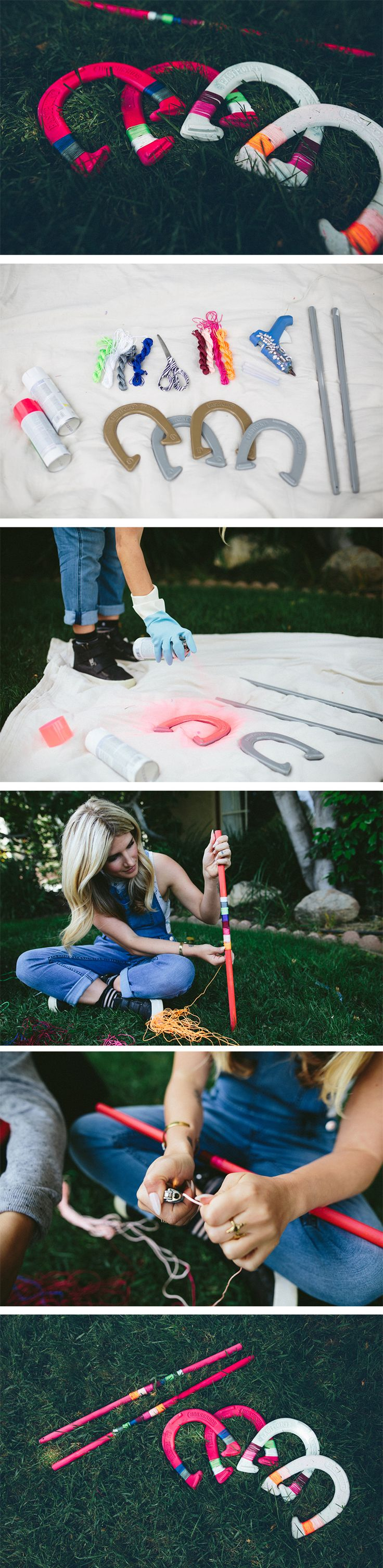 DIY Horseshoe Set | Summer is yours for the playing with this painted and twine-wrapped horseshoe game! Beautiful for your lawn, or to hang as some home decor!