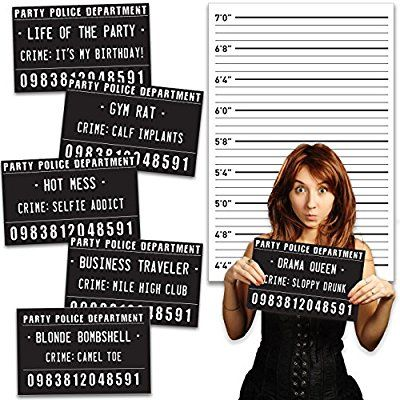 20 Outrageously Hilarious Birthday Party Mug Shot Signs - For Men and Women, Perfect for 30th, 40th or 50th Birthday
