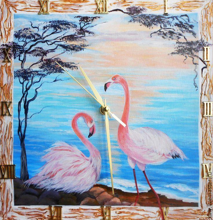 Купить Настенные часы картина Розовые фламинго встречают рассвет - часы, часы настенные