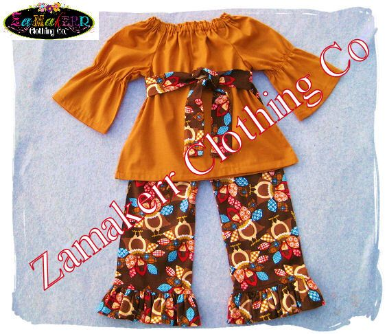 Custom Boutique Thanksgving Turkey Girl Outfit Fall Toddler Baby Clothing Pageant Dress Pant Set 3 6 9 12 18 24 month size 2T 3T 4T 5T 6 7 8 by ZamakerrClothingCo on Etsy https://www.etsy.com/listing/112782705/custom-boutique-thanksgving-turkey-girl
