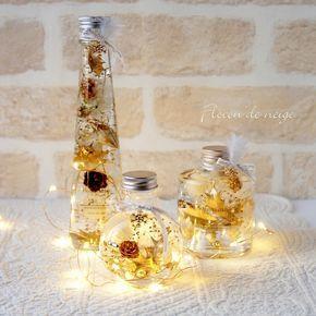 新作のクリスマスハーバリウムは3個セットでLEDの電飾付き。ホワイト&ゴールドはオシャレで大人っぽいクリスマスを演出できます。瓶の口元にはFlocon de neigeスタイルでチャーム付き。クリスマスはゴールドの雪の結晶のチャームとMerry Chri...