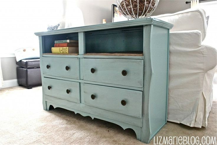 take an old dresser, remove the top two drawers, turn into shelves, and paint for a cute stand to go behind a couch or at the foot of the bed.