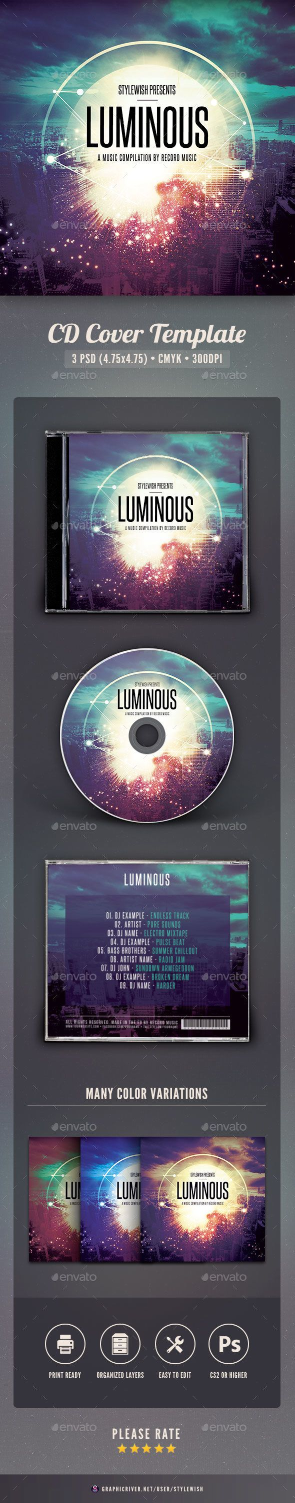 Luminous CD Cover Artwork — Photoshop PSD #concert #cd • Available here → https://graphicriver.net/item/luminous-cd-cover-artwork/15935392?ref=pxcr