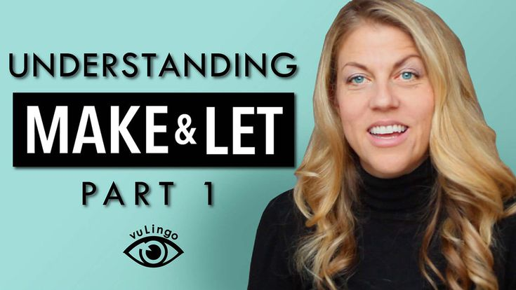 Hi, we're back with another English video! This video is part of a 2-Part  series on MAKE & LET and the difference between them.   Now, today we will focus on MAKE. MAKE can be kind of difficult to  understand because in English we use it with so many different meanings.  For example, you can MAKE a mistake, you can also MAKE dinner. You can also  MAKE your husband make dinner. That third meaning is what we're going to  talk about today.  To understand MAKE & LET, we need to look at two…