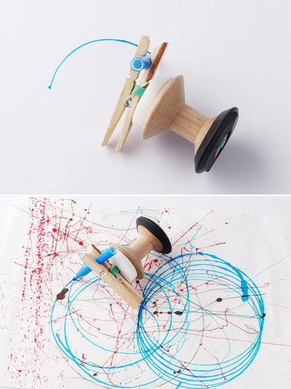 DIY spirograph! A do-it-yourself drawing machine comprised of an oak cotton reel, peg, felt tip pen, rubber band, and a small bit of wax. http://www.alllovelystuff.com/product_info.php?products_id=62=USD=650808aa12ea6888707bc12dfe03f154