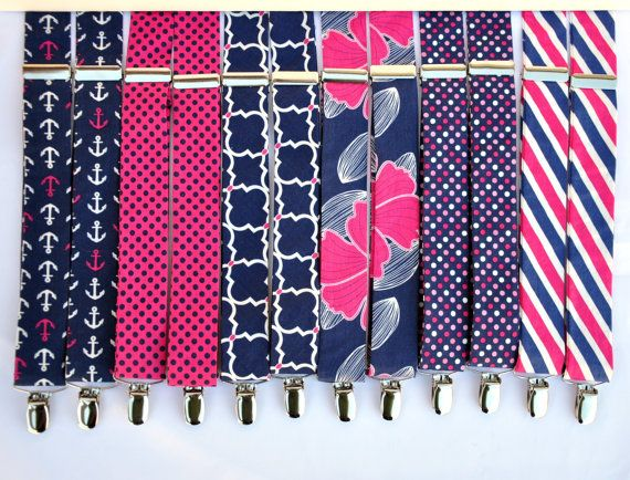 Boy's Suspenders Hot Pink and Navy Blue Wedding by MeandMatilda (Accessories…