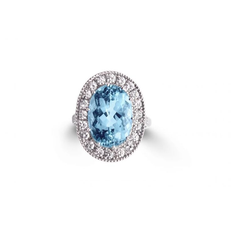 AQR 18ct White Gold Aquamarine And Diamond Ring