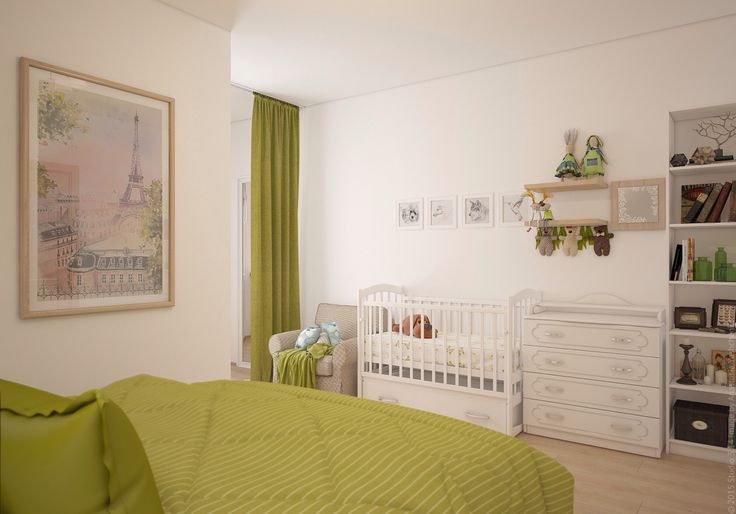 Вид на детскую кроватку в спальне родителей. Дизайн спальни в трёхкомнатной квартире на Войковской. Москва.