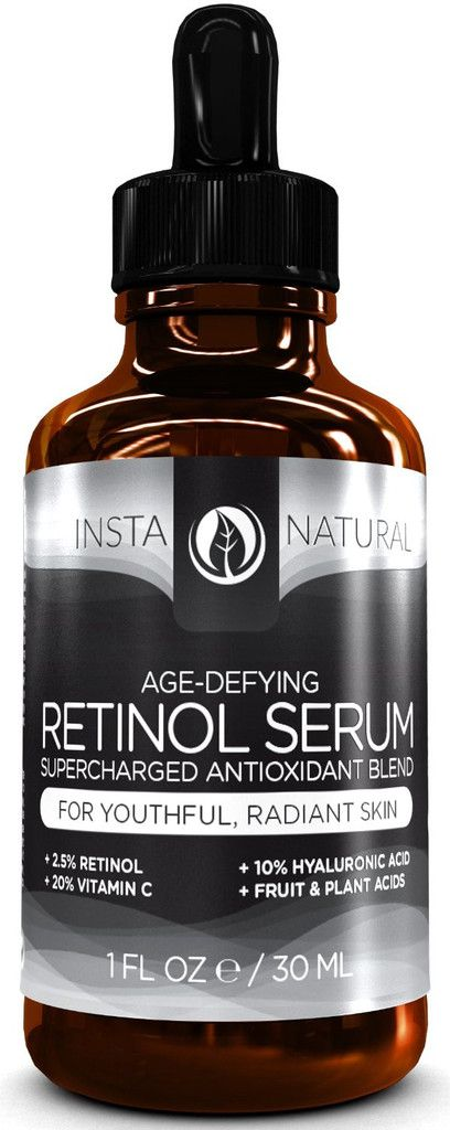 InstaNatural's Age-Defying Retinol Serum contains a proprietary blend of antioxidants and nutrients that nourishes your skin to help it look younger and healthier. Retinol (Vitamin A) protects against free-radical damage and is highly effective in reversing the appearance of sun damage and signs of aging, such as wrinkles, fine lines, hyperpigmentation and more.