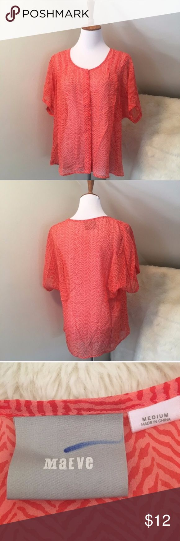 """Maeve Orange Striped Abatract Silk Blouse Medium Great condition with no flaws. 100% silk. Sheer. Striped zebra like abstract design. Scoop neck. Hidden button down front. Flowy fit.  20"""" across the bust and 26"""" long.  Bundles encouraged.  PRICE FIRM. Anthropologie Tops Blouses"""