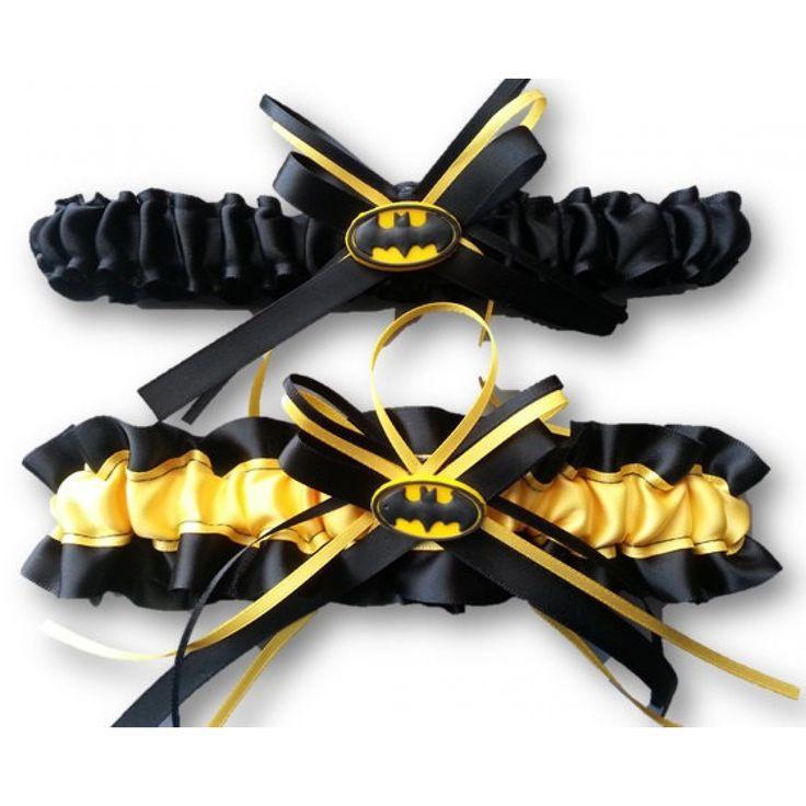 Batman wedding garter set yellow and black