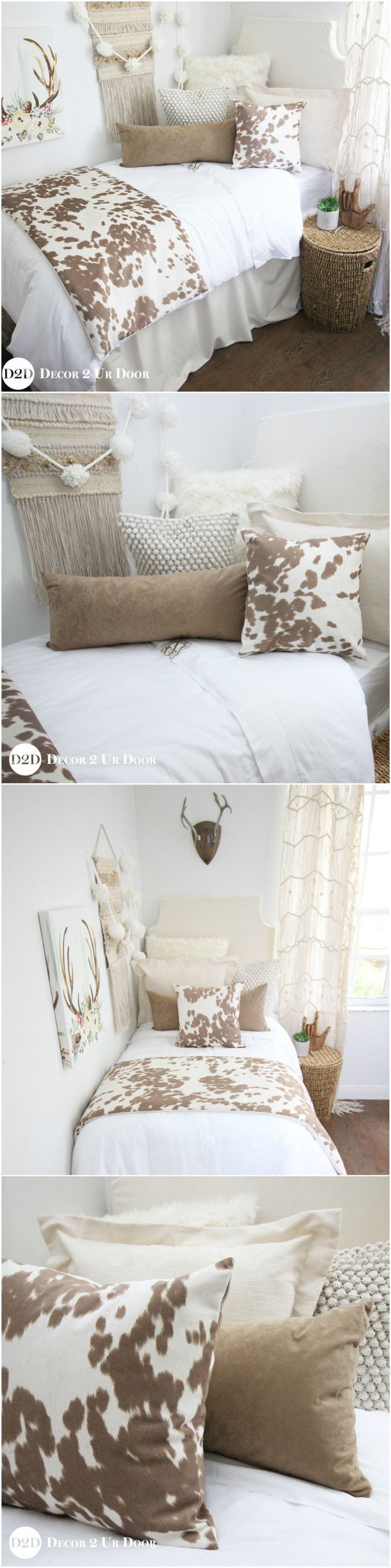 Holy Cowhide Dorm Room. This rustic farmhouse dorm bedding set features simple neutrals and linens with textured fur, suede, and super-soft cowhide fabric. Y'all can't go wrong with cowhide dorm bedding!