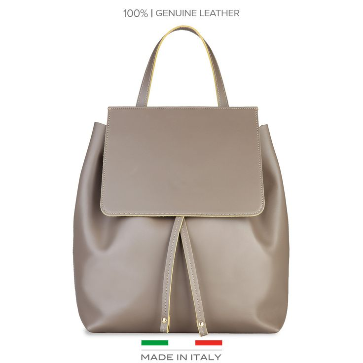 Grey leather backpack Made in Italia - CARMEN