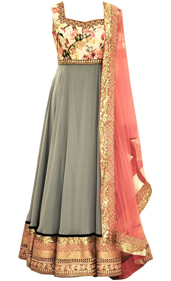 Grey Georgette Floor Length This set features a grey floor length anarkali in georgette base with gold sequins and zari embellished border. It fatures a floral print silk yoke with gold zardozi, zari and stone embroidery around the neckline and waist. It has a deep cut out back and off white dori tie up with gold tasseled hangings. It is paired with a contrast coral dupatta in net fabric with gold sequins and zari embellished border. It comes with a grey chridar pants.