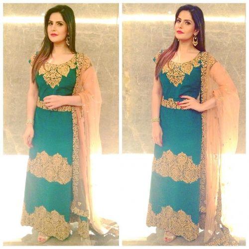 Zareen Khan wearing Reeti Arneja in Delhi
