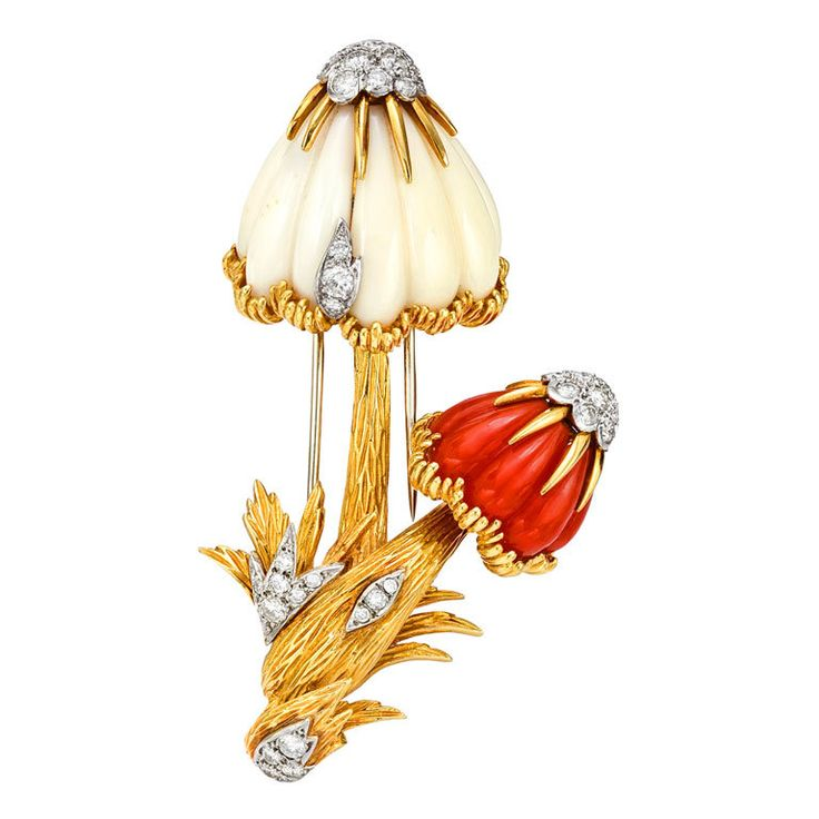 """VAN CLEEF & ARPELS Red & White Coral Mushroom Brooch. Vintage mushroom brooch, designed as two mushrooms with carved white and red coral caps, with pave-set diamond accents in 18k white gold, the brooch mounted in 18k yellow gold, numbered 1K56-9, signed """"VCA"""" for Van Cleef & Arpels. France 2oth Century"""