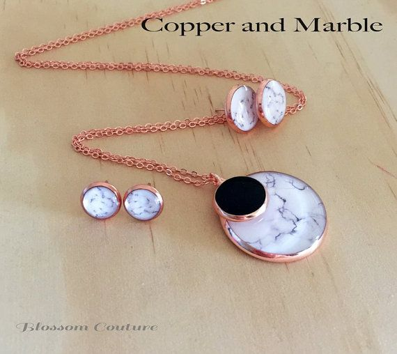 Marble and  Copper Earrings and or Necklace by MyBlossomCouture