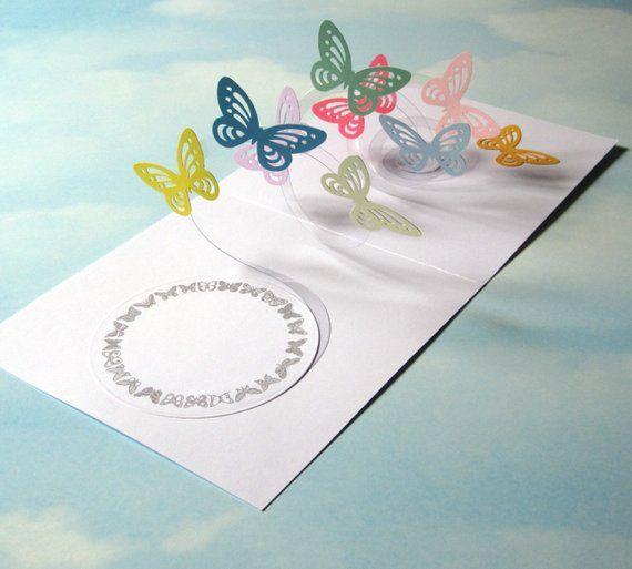 Butterfly Card Spiral Pop Up Butterfly 3d Card Handmade Etsy Butterfly Cards Clever Christmas Cards Cards Handmade