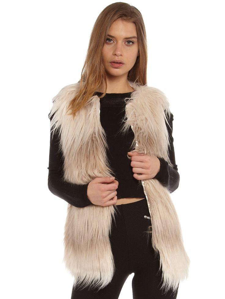 Miss Selfridge Dip-Dye Faux Fur Gilet in Cream - Glue Store
