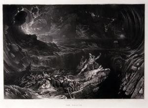 The Deluge, John Martin, 1832, mezzotint, 7 5/8 in. x 11 1/4 in. Currier Museum of Art.