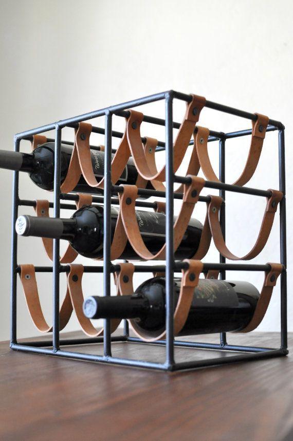 Arthur Umanoff for Raymor 9 Bottle Iron Leather Wine Rack/Mid Century Modern Wine Holder/Iron and Leather Industrial Wine Rack
